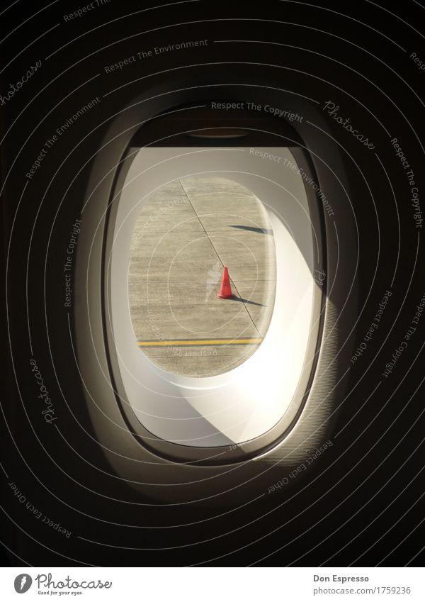 Vacation & Travel Airplane window Flying Line Aviation Airplane Hat Airport Runway Traffic cone Runway Window seat