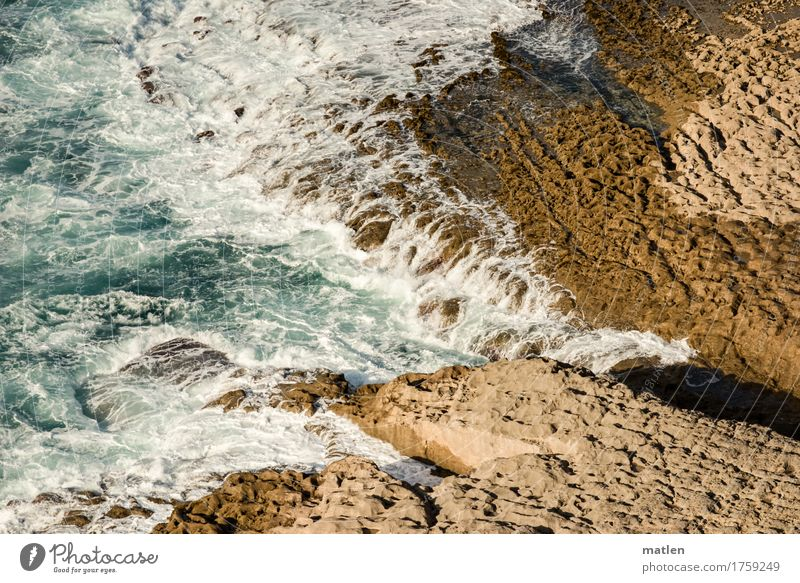 encounter Nature Water Summer Beautiful weather Rock Waves Coast Reef Ocean Together Blue Brown White Colour photo Exterior shot Abstract Pattern