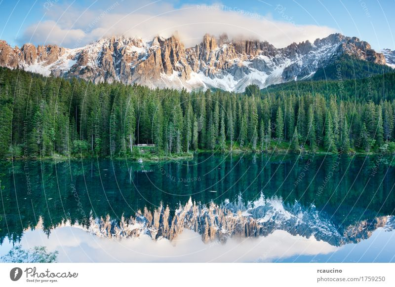 Karersee (Lago di Carezza), lake in the Dolomites, Italy. Sky Vacation & Travel Blue Summer Green Tree Landscape Forest Mountain Snow Lake Europe Alps Dusk Pine