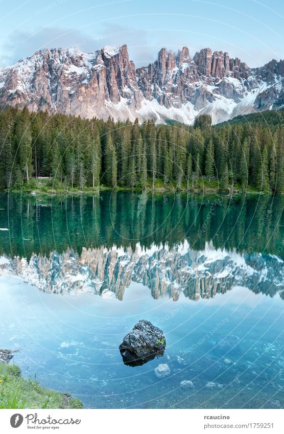 Karersee is a lake in the Dolomites, Italy. Vacation & Travel Summer Snow Mountain Landscape Sky Tree Forest Alps Lake Blue Green dolomitic Dusk Europe panorama