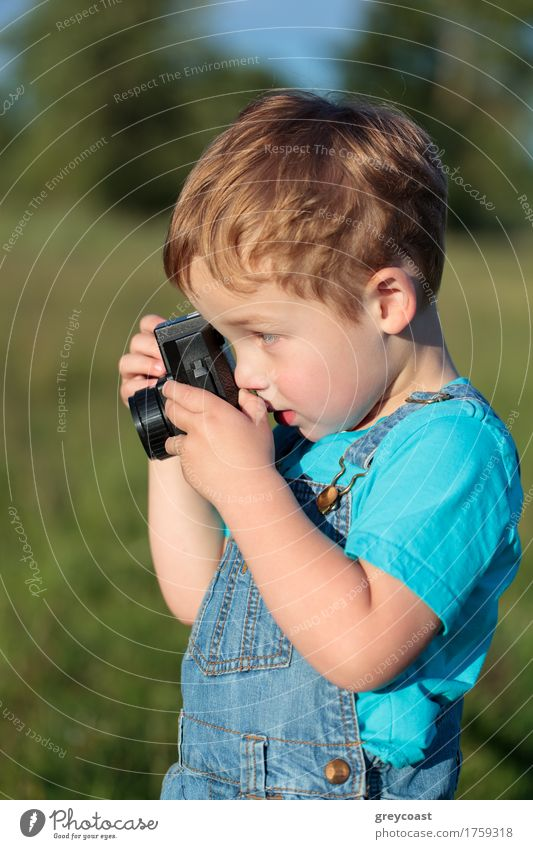 Little child taking pictures outdoor Human being Child Nature Summer Landscape Boy (child) Small Blonde Infancy Happiness Photography Camera Toddler Vertical