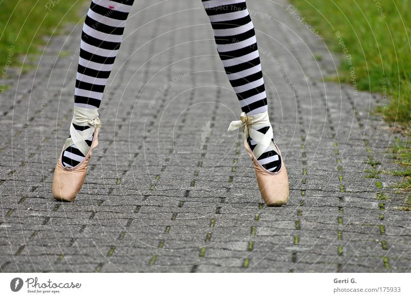 ballet Legs Feet 1 Human being Ballet Grass Lanes & trails Tights Footwear Stand Athletic Ballet shoe Asphalt Striped Striped pantyhose Vertical Legs apart