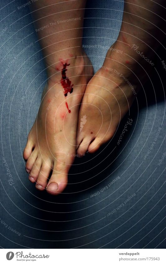 unfall Colour photo Artificial light Human being Feet Authentic Pain Blood Hurt Wound Barefoot Abrasion Blood stain Women`s feet Neutral Background