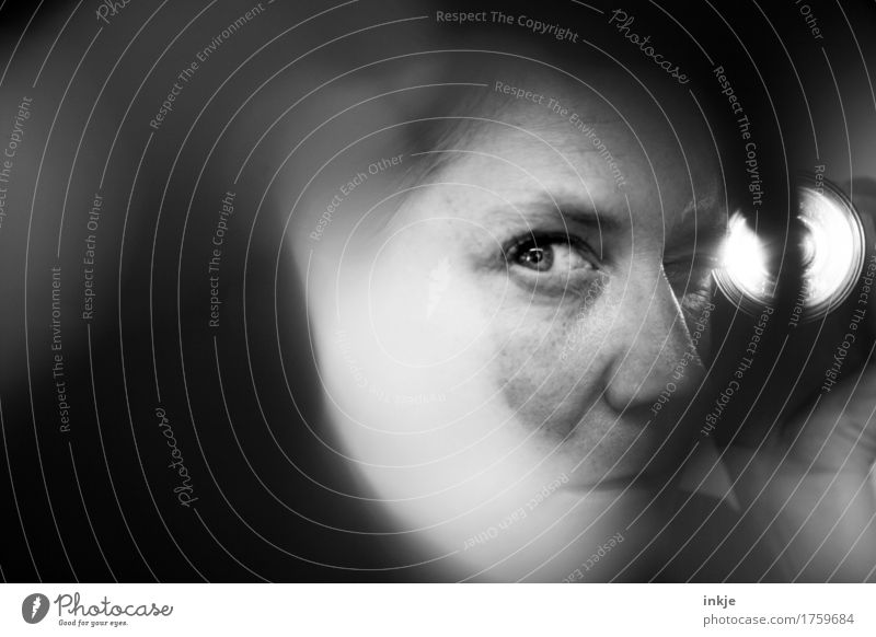 Close ups wife spies Woman Adults Life Face Eyes 1 Human being Flashlight Flare Observe Discover Looking Dark Fear Mistrust Testing & Control Surveillance Spy