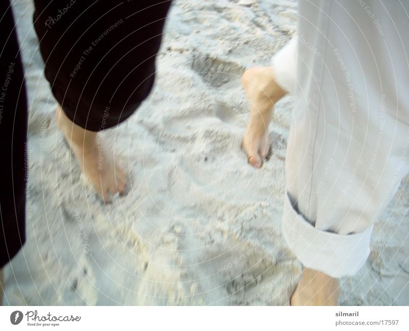 Beach walk I Man Woman Going To go for a walk Vacation & Travel Together Human being Walking Sand Couple Feet Legs In pairs
