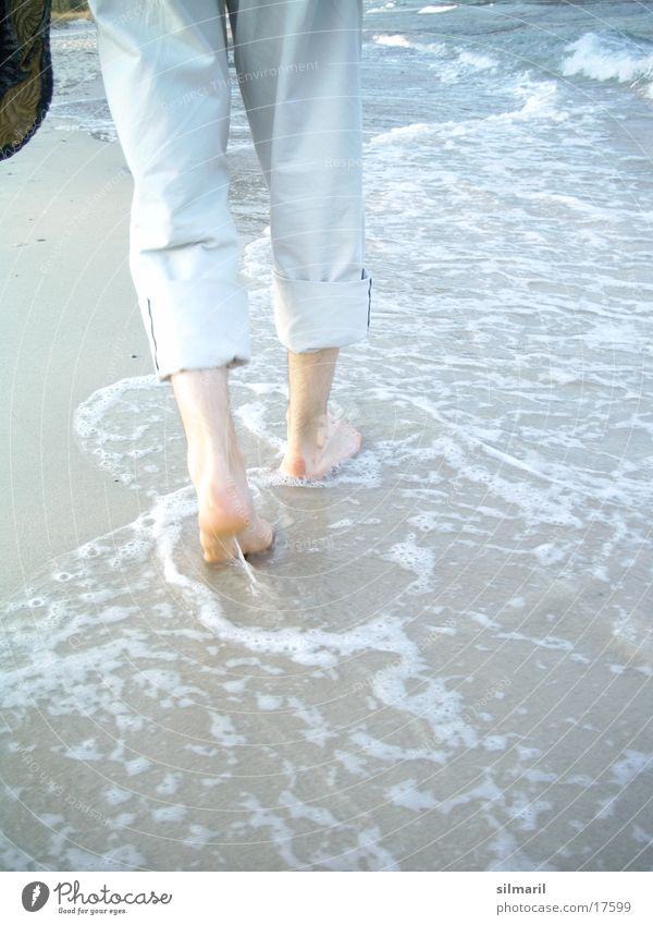 Man Ocean Beach Feet Sand Footwear Legs Waves Hiking Going Walking Drops of water Wet To go for a walk Pants Footprint