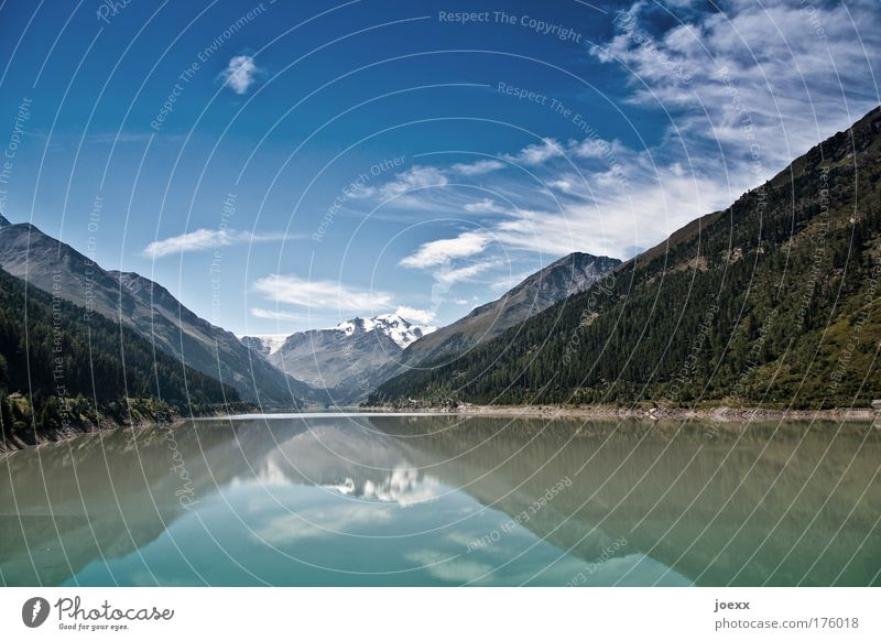 mirror portal Colour photo Copy Space top Copy Space bottom Day Reflection Wide angle Climbing Mountaineering Nature Landscape Water Sky Clouds Lakeside