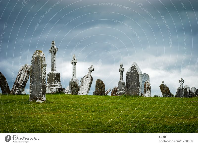 last rest Vacation & Travel Tourism Sculpture Culture Sky Clouds Bad weather Lichen Meadow Ireland Europe Cemetery Grave Stone Sign Crucifix Old Dark Gloomy