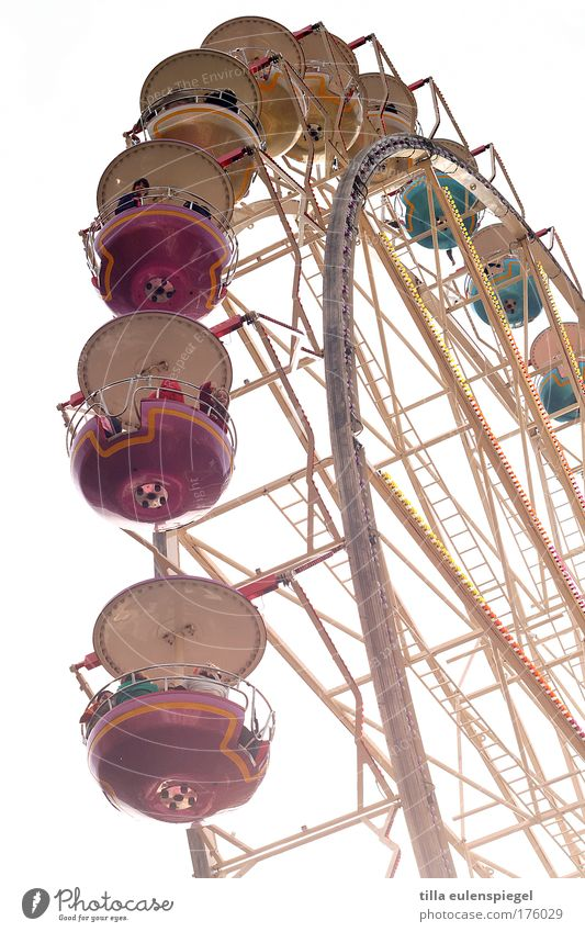 ( Colour photo Exterior shot Day Sunlight Back-light Leisure and hobbies Fairs & Carnivals Infancy Life To enjoy Joy Happiness Memory Ferris wheel Rotate
