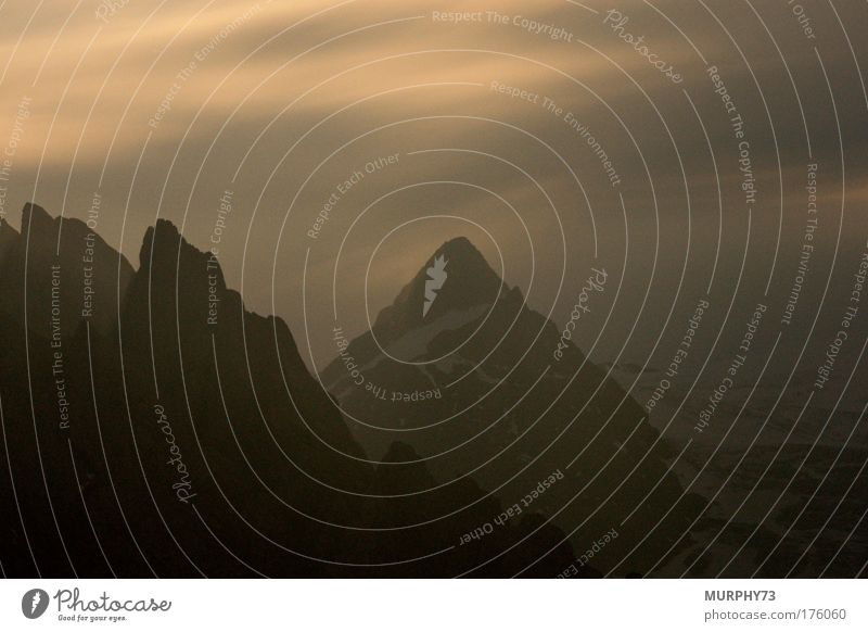 Mountain peaks in the full moon night... Colour photo Exterior shot Deserted Copy Space top Copy Space bottom Neutral Background Night Silhouette