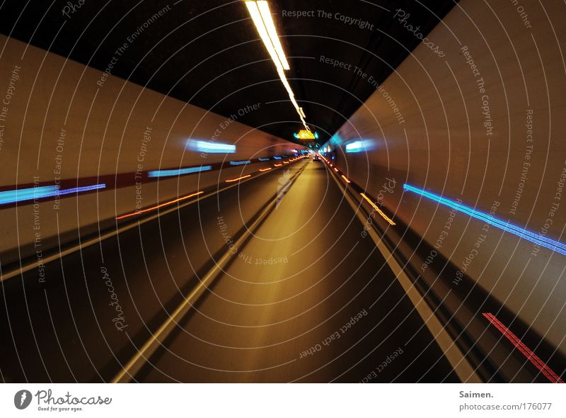 tunnel vision Colour photo Experimental Pattern Structures and shapes Copy Space bottom Light Tunnel Driving Multicoloured Traffic lane Street Movement Line