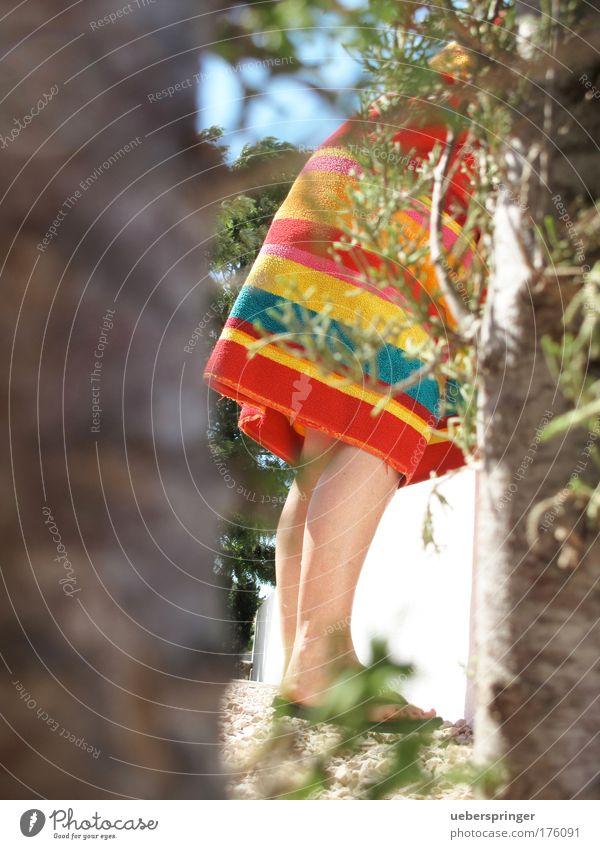 mauerBLÜMCHEN Colour photo Multicoloured Exterior shot Day Light Feminine Woman Adults Legs Feet 1 Human being Relaxation