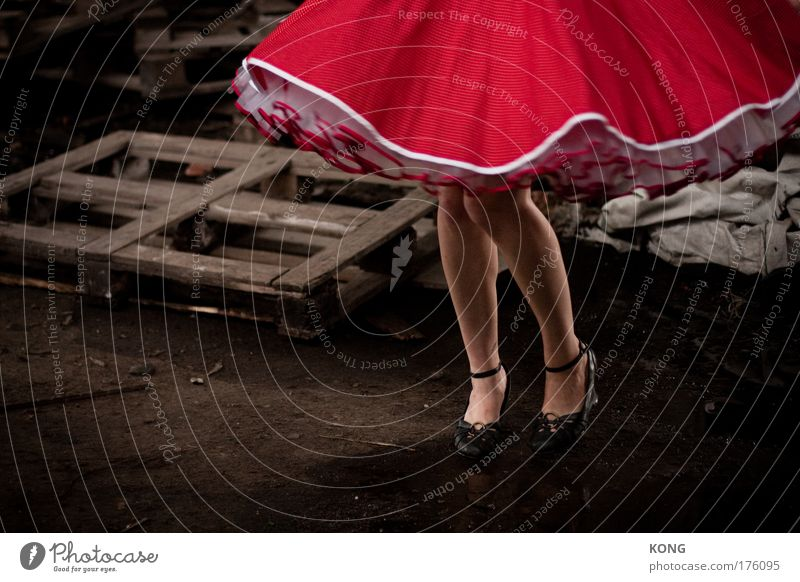 Human being Youth (Young adults) Red Adults Feminine Movement Legs Dream Feet Feasts & Celebrations Dance Elegant Wild Footwear 18 - 30 years Dress