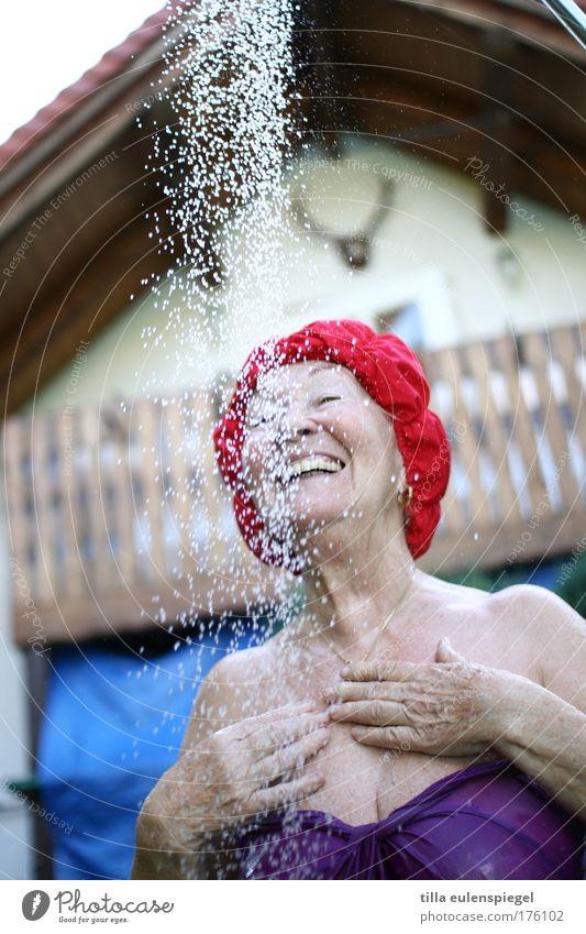 Grandma loves that. Feminine Female senior Woman Senior citizen Life 1 Human being 60 years and older Summer Swimsuit Bathing cap Laughter Authentic Healthy