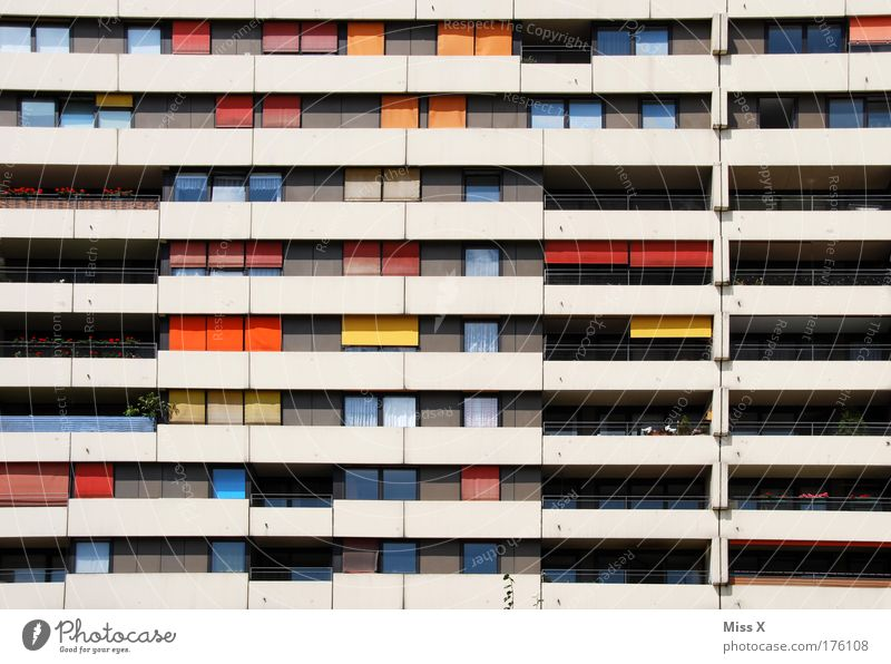 City Wall (building) Emotions Window Wall (barrier) Building Architecture Flat (apartment) Poverty High-rise Retro Multicoloured Living or residing Moving (to change residence) Balcony Story