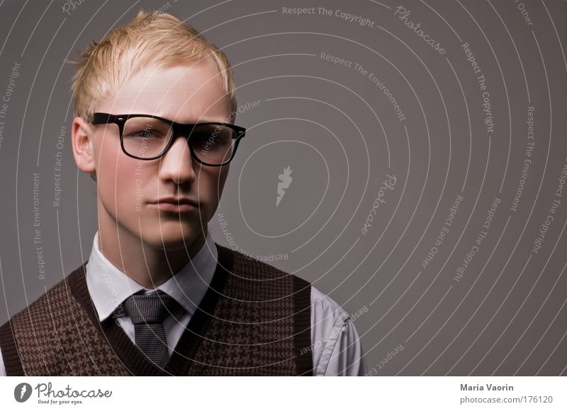 Portrait photograph Human being Youth (Young adults) Man Arrangement Adults Think Blonde Hair and hairstyles Success Masculine Academic studies Eyeglasses Retro Education University & College student