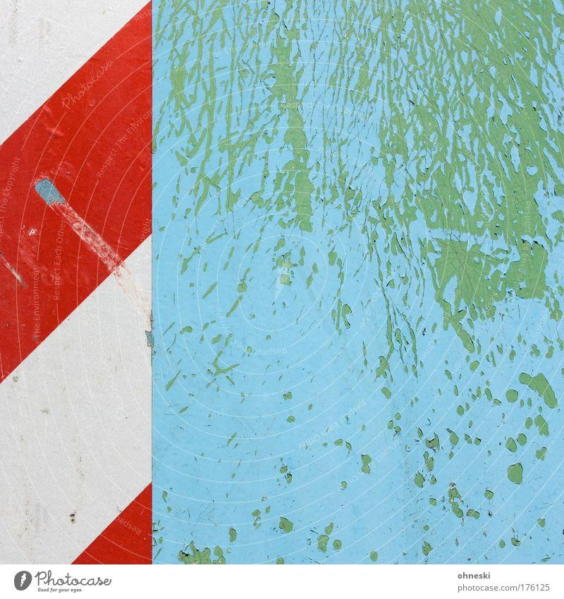 Old White Green Blue Red Colour Line Signs and labeling Transport Crazy Broken Derelict Signage Pattern Flake off Damage