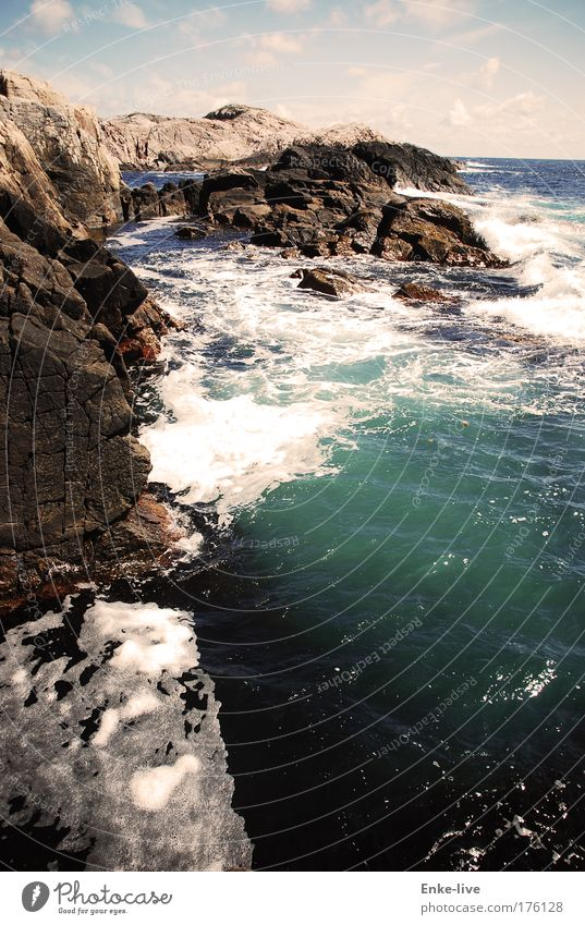 Lindesnes 1 Colour photo Exterior shot Aerial photograph Deserted Copy Space right Day Shadow Bird's-eye view Landscape Water Summer Beautiful weather Rock