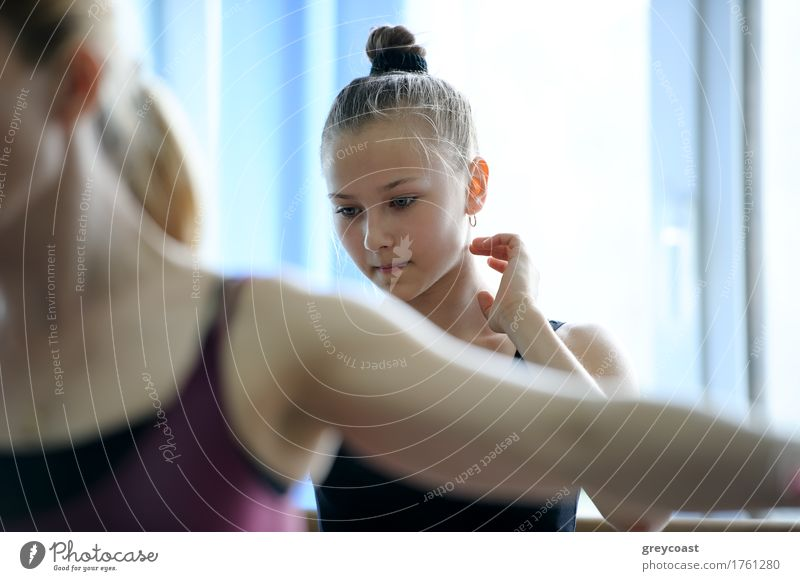 Young baller dancer on rehearsal looking thougthful and puzzled Human being Youth (Young adults) Girl Think School Dance Academic studies Railroad Considerate
