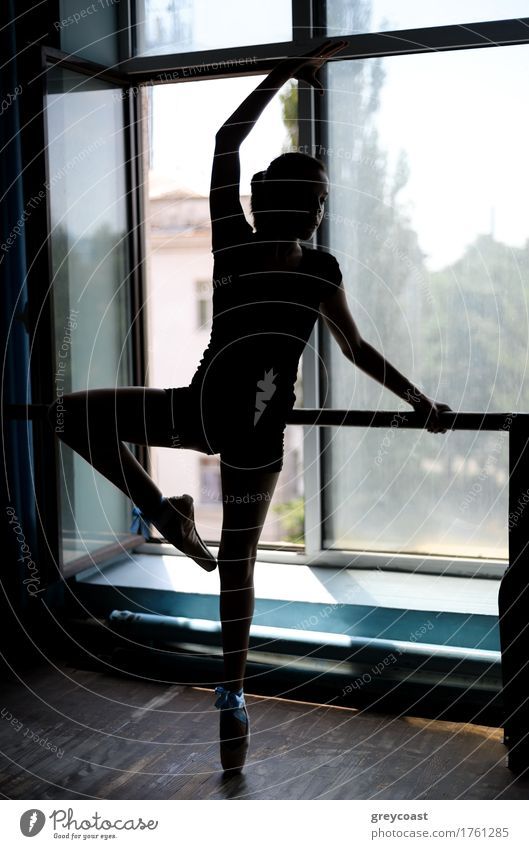 Black silhouette of a ballet dancer in position at the barre near the window Dance School Academic studies Girl Youth (Young adults) 13 - 18 years Dancer Ballet