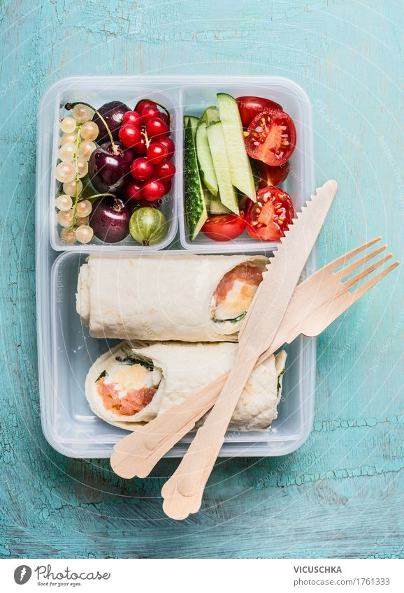 Healthy lunch box with tortilla wraps and wooden cutlery Food Fish Vegetable Lettuce Salad Fruit Nutrition Lunch Banquet Organic produce Vegetarian diet Diet