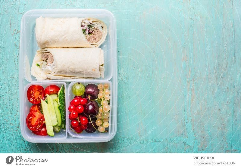 Healthy lunch box with tuna tortilla wraps Food Fish Vegetable Lettuce Salad Fruit Nutrition Lunch Buffet Brunch Organic produce Vegetarian diet Diet Style