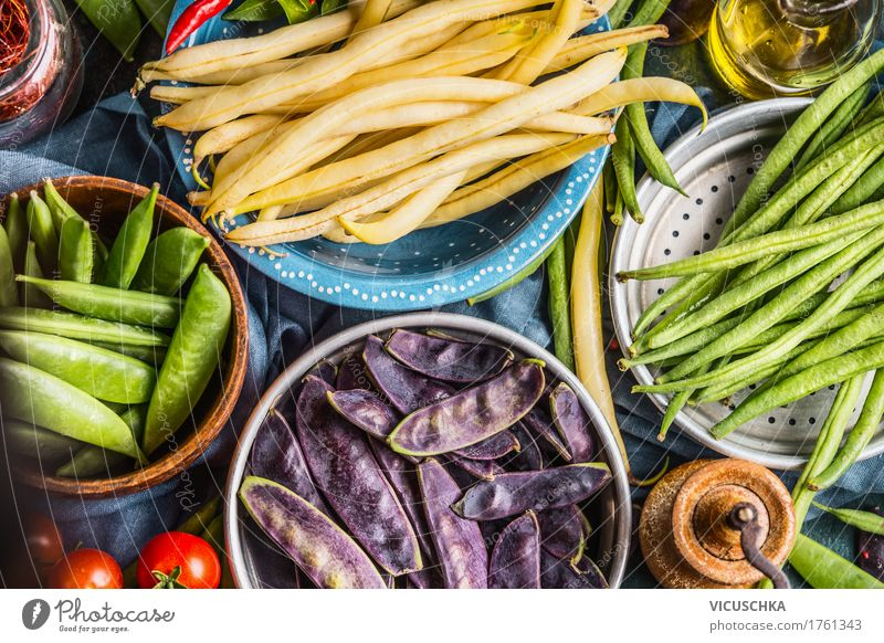 Colourful pea and bean pods Food Vegetable Nutrition Organic produce Vegetarian diet Diet Bowl Style Design Healthy Eating Life Table Nature Yellow Pea pods