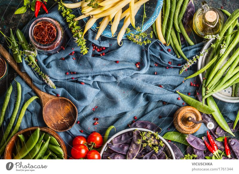 Cooking with coloured pea and bean pods Food Vegetable Herbs and spices Cooking oil Nutrition Organic produce Vegetarian diet Diet Crockery Style Design