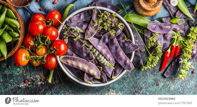 Purple pea pods with cooking ingredients Food Vegetable Herbs and spices Nutrition Organic produce Vegetarian diet Diet Crockery Bowl Style Design