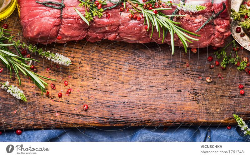 Roast beef roast with herbs and spices prepare Food Meat Herbs and spices Cooking oil Nutrition Dinner Banquet Slow food Style Design Table Kitchen Restaurant