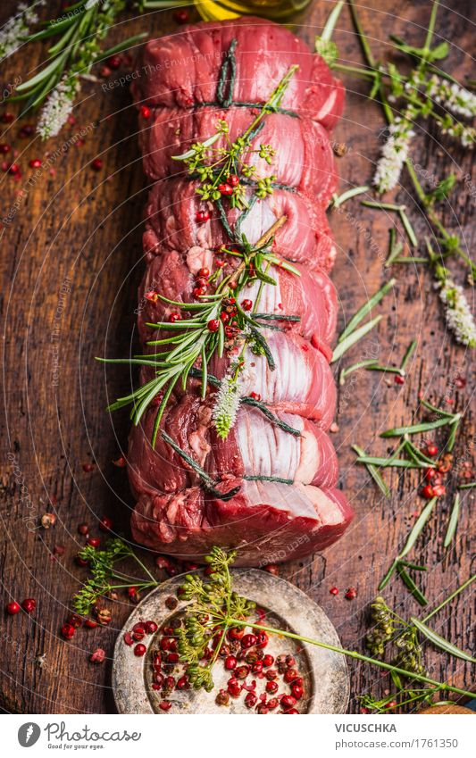 Roast beef with herbs and spices Food Meat Herbs and spices Nutrition Banquet Organic produce Style Design Table Roast joint Joint of beef Food photograph