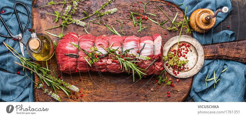 Roast beef with herbs Preparation Food Meat Herbs and spices Cooking oil Nutrition Banquet Organic produce Slow food Crockery Style Design Table Kitchen