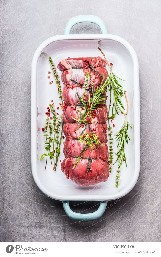 Roast beef with herbs and spices Food Meat Herbs and spices Nutrition Dinner Banquet Organic produce Bowl Style Design Healthy Eating Table Enamel Roast joint