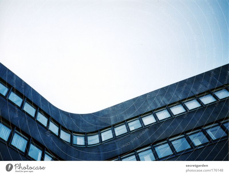 Blue Work and employment Calm House (Residential Structure) Architecture Gray Style Office building Line Elegant Facade Design High-rise Esthetic Perspective