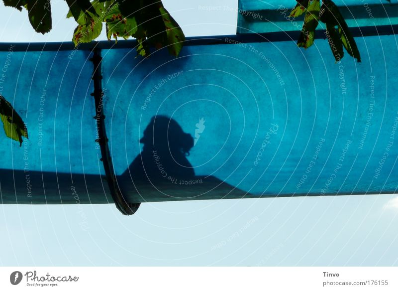 Grandma on water slide Colour photo Exterior shot Close-up Day Shadow Contrast Silhouette Woman Adults Female senior 1 Human being Cloudless sky Summer
