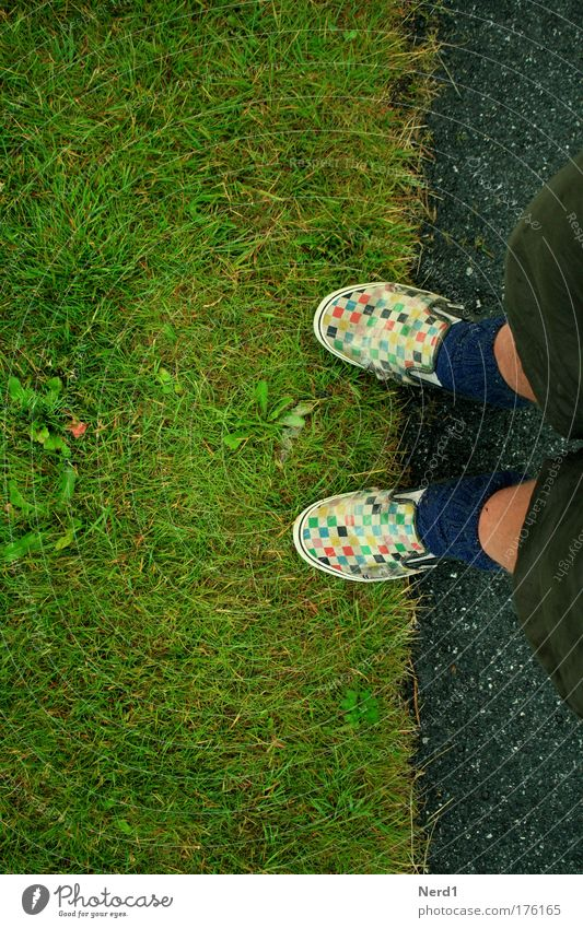 lawn edge Footwear Checkered Lawn Border Boundary Feet Multicoloured Green Bird's-eye view Chucks Shorts Copy Space left Copy Space top Copy Space bottom