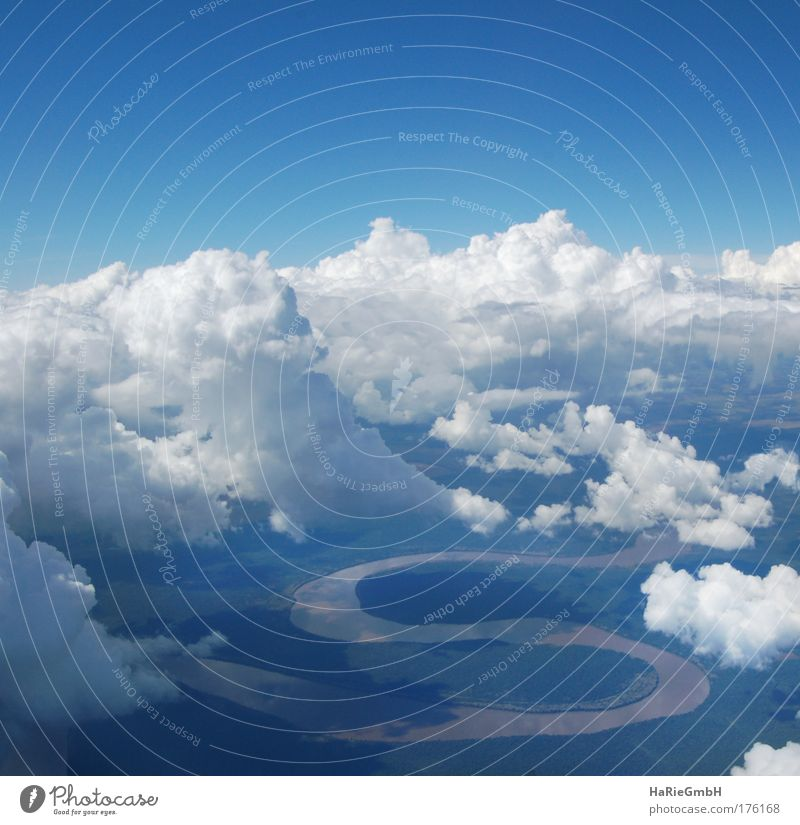 Rio Iguacu Colour photo Aerial photograph Deserted Light Shadow Bird's-eye view Nature Landscape Water Sky Clouds River bank iguacu Sign Characters s-form