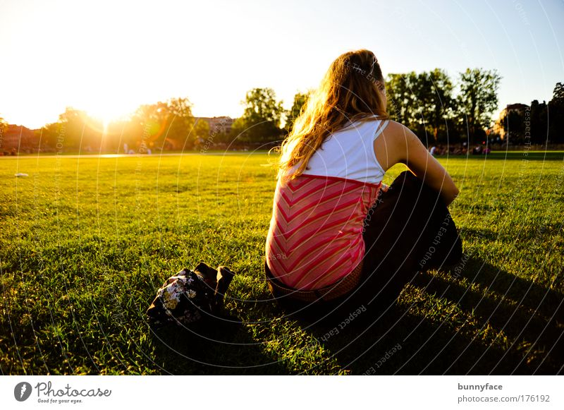 Human being Youth (Young adults) Meadow Feminine Emotions Moody Wait Adults Sit Meditative Caution Crouch Young woman 18 - 30 years