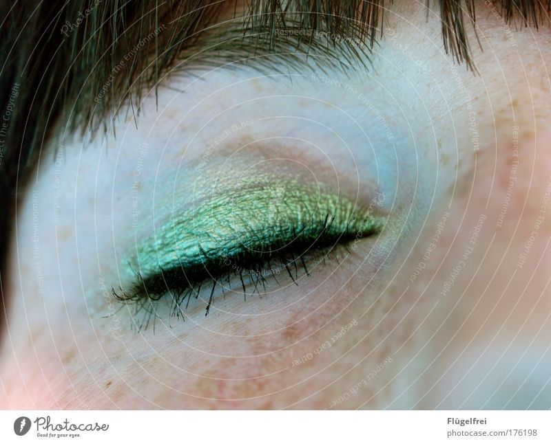 eyecatcher Feminine Eyes 1 Human being 18 - 30 years Youth (Young adults) Adults Looking Eye shadow Green Wearing makeup Freckles Bangs Mascara Nose Face Woman