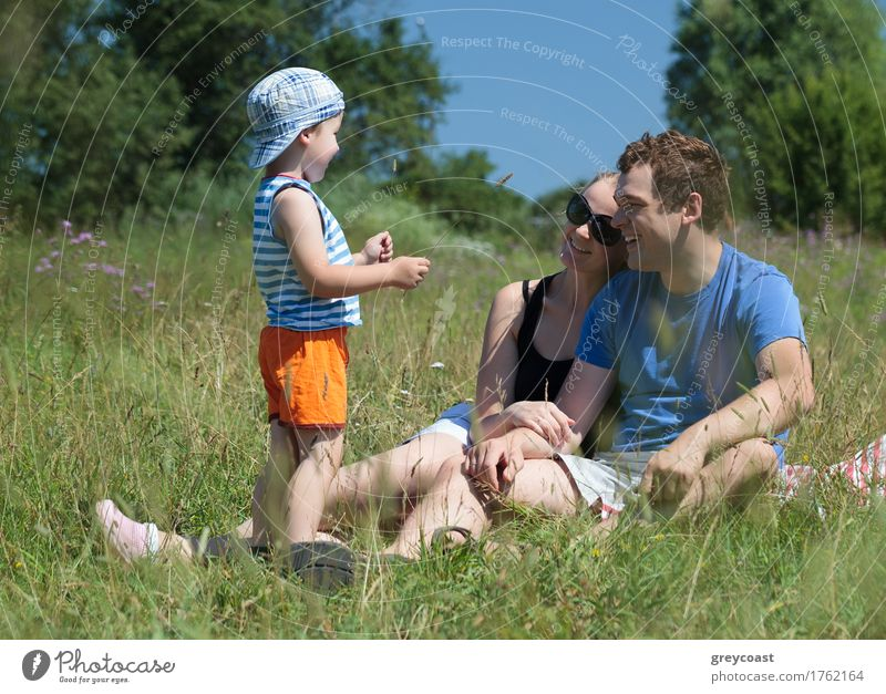 Family outdoor on a bright summer day Human being Child Nature Youth (Young adults) Summer Young woman Tree Young man Relaxation Joy Forest 18 - 30 years Adults