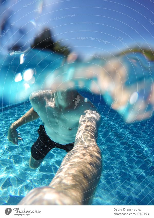 into the blue Vacation & Travel Far-off places Summer vacation Ocean Island Waves Aquatics Swimming & Bathing Masculine Young man Youth (Young adults) Life Body