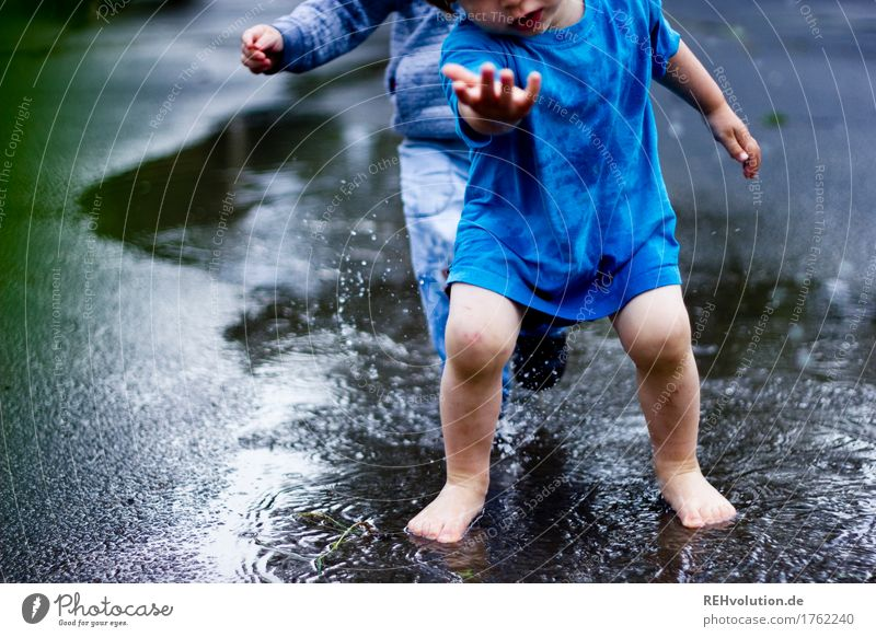 puddle fun Playing Human being Masculine Child Toddler Boy (child) Friendship Infancy 2 1 - 3 years Water Puddle Joy Wet Inject Rain Weather Summer Together