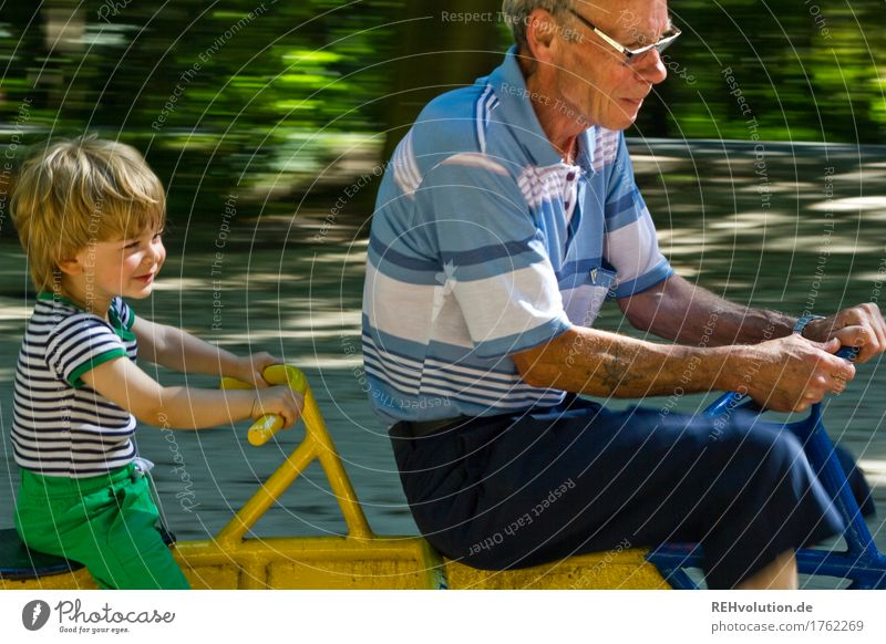 Grandpa with grandchild on the playground Leisure and hobbies Playing Human being Masculine Child Boy (child) Male senior Man Grandfather Infancy Senior citizen