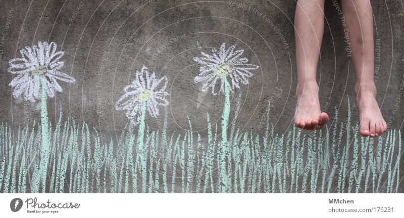 Holidays! Chalk Wall (building) Concrete Vacation & Travel Balcony Meadow Flower Feet Dangle Leisure and hobbies Freedom Infancy Relaxation Blossoming Summer