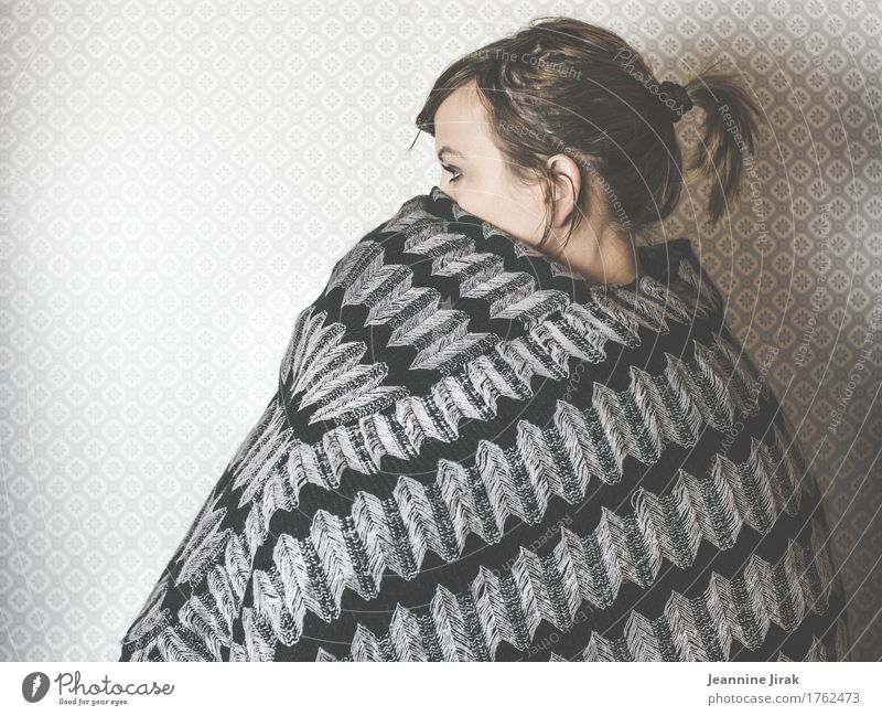 Human being Cold Sadness Feminine Head Sit Wait Observe Protection Claustrophobia Freeze Braids Timidity Cape Knitting pattern Knitted sweater