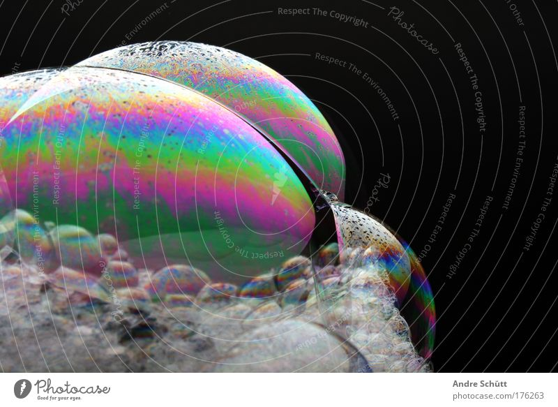 Black Wet Bubble Personal hygiene Soap bubble Foam Prismatic colors Foam mountain