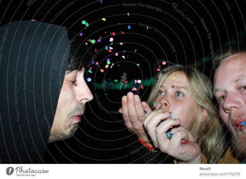 ! Man Woman Multicoloured Blow Confetti Looking Wink Closed eyes Birthday Happy Birthday Warmest congratulations Birthday wish Good mood Positive Party mood