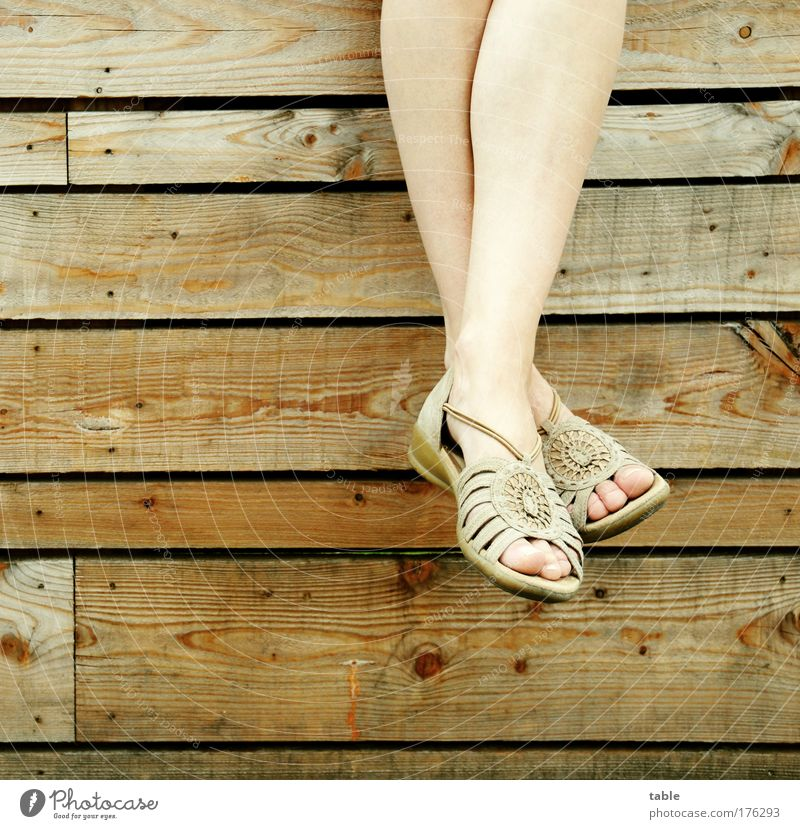 dangle Colour photo Subdued colour Style Joy Beautiful Well-being Contentment Relaxation Calm Woman Adults Legs Feet Toes Footwear Summer shoe Wood Leather