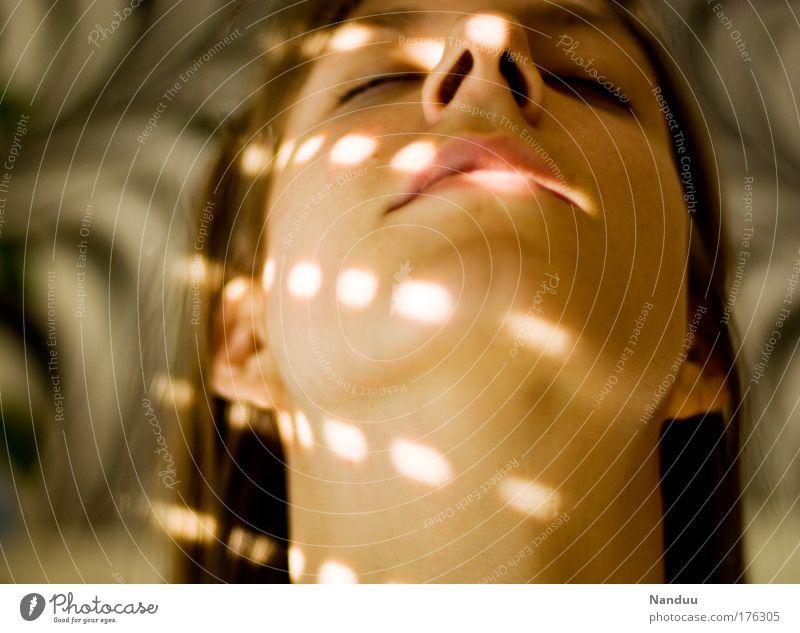 stroked light Colour photo Interior shot Experimental Pattern Evening Light Shadow Blur Portrait photograph Upward Closed eyes Beautiful Wellness Harmonious