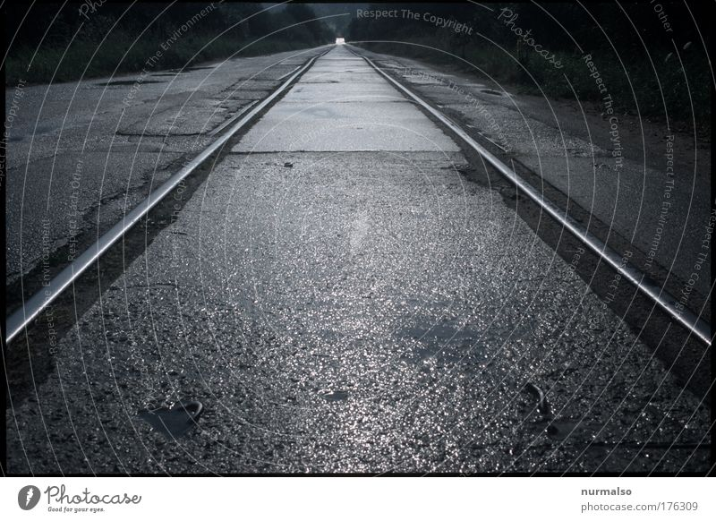 pinpoint accuracy Subdued colour Abstract Evening Graph Deserted Train station Transport Passenger traffic Train travel Street Road sign Railroad tracks
